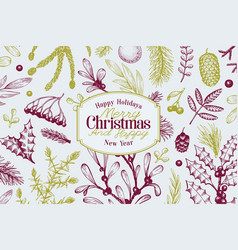 Greeting christmas card in vintage style vector