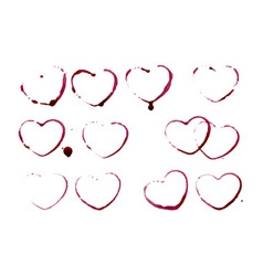 Grunge heart shape prints vector image