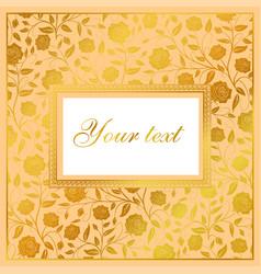 hand drawn floral card design golden roses vector image