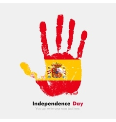Handprint with the Flag of Spain in grunge style vector