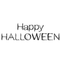 happy halloween spider web text greeting card vector image