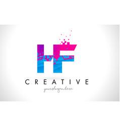 hf h f letter logo with shattered broken blue vector image