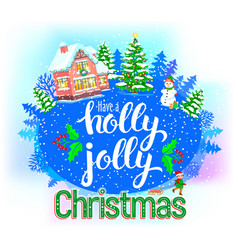 Holly jolly round greeting card vector