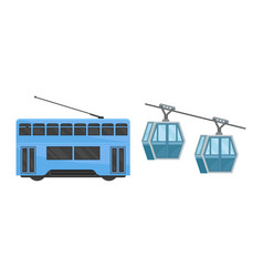 Hong kong travel symbols with funicular or cable vector