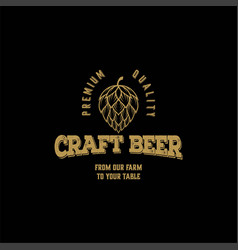 hops craft beer ale brewery label logo design vector image