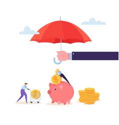 Insurance agent holding umbrella over money vector