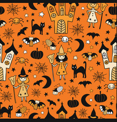 kids halloween background seamless pattern vector image