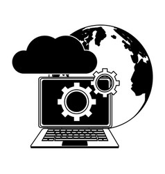 laptop with cloud computing in black and white vector image