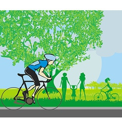 Man riding a bike in the park vector