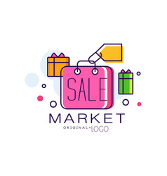 market original logo colorful sale badge design vector image