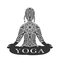 Meditation female silhouette yoga studio logo vector