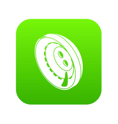 men clothes button icon green vector image