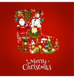 Merry Christmas poster Santa winter boot symbol vector image
