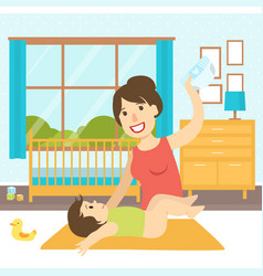 Mom changing diaper to her baon changing table vector