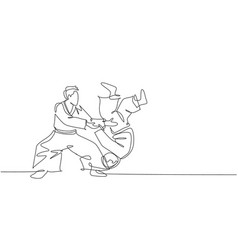 One continuous line drawing young men aikido vector