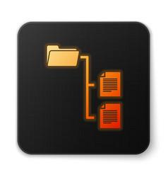orange glowing folder tree icon isolated on white vector image