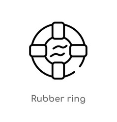 Outline rubber ring icon isolated black simple vector