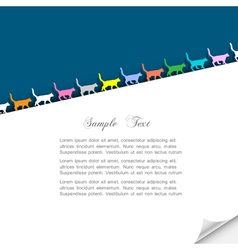Paper background with colorful silhouettes cats vector