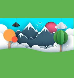 paper travel sun cloud hill vector image