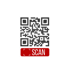 qr code button application with scan me sign icon vector image