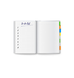 realistic opened notebook with clean to do list vector image