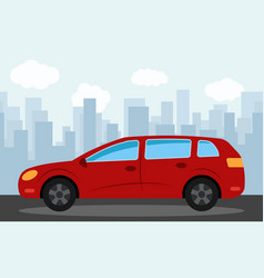 red car in the background of skyscrapers vector image