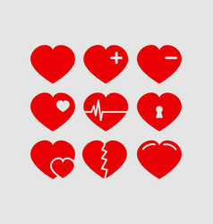 red hearts set valentines day vector image