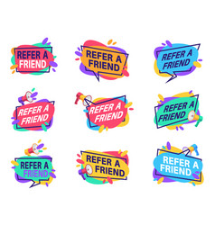 refer friend labels referral program for vector image