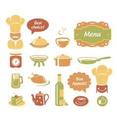 Restaurant and kitchen icons set vector image