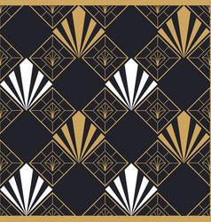 Retro art deco gold geometric seamless pattern vector