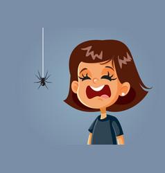 Scared girl being afraid a spider cartoon vector