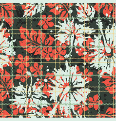 Scottish tartan hibiscus and leaves background vector