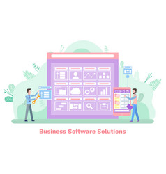 screen with buttons software solutions vector image