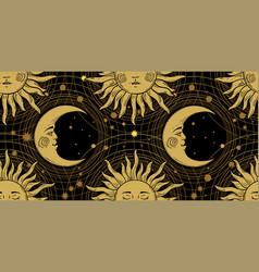 seamless pattern with a golden sun with a face vector image