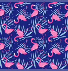 seamless pattern with cute pink flamingo birds vector image