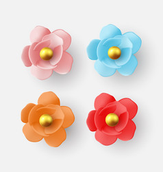 set color flowers isolated on white background vector image
