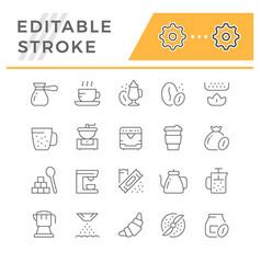 set editable stroke line icons coffee vector image