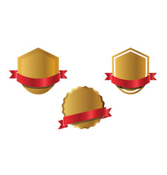 set golden shields and red ribbons vector image