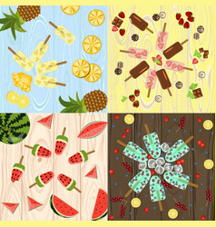 set of popsicles vector image