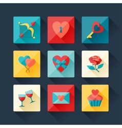 set valentines and wedding icons in flat design vector image