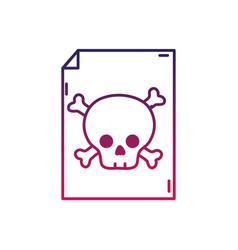 Silhouette danger skull bones alert inside paper vector