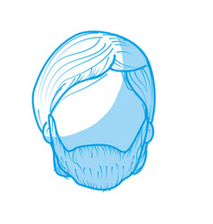 Silhouette nice man face with haistyle and beard vector
