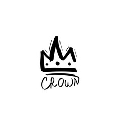 sketch crown logo template vector image