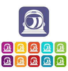Space helmet icons set vector