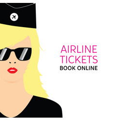 stewardess blonde in black uniforms with booking vector image