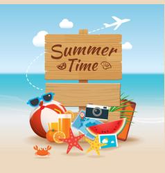 summer time background banner design template vector image