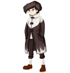 Teenage boy in black overcoat vector