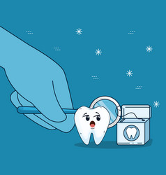 Tooth care with mouth mirror and dental floss vector