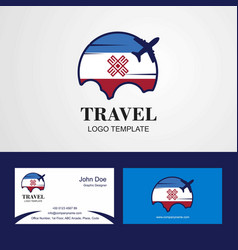 Travel mari-el flag logo and visiting card design vector