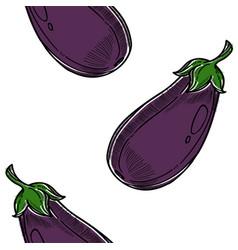 Vegetable eggplant seamless pattern farm harvest vector
